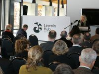 Sue Suckling, Hub chairperson, introduces the Hub's new identity & gifted name.  Image: Tom Fraser, AgResearch