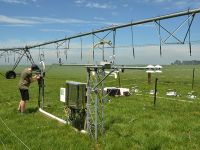Fig. 1:  Measurement setup to determine greenhouse gas budgets of irrigated pasture. Intakes for gas sampling from two heights are on the taller mast on the right, recognisable by the yellow and blue tubes. Instruments to measure fast changes of wind and