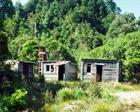 Logging huts amongst bush west of Tihoi