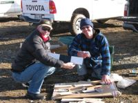 Chris Dickman (University of Sydney) and Grant Norbury preparing tracking tunnels for feral cats at Macraes Flat.