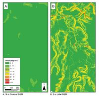 Figure 2. Slope layers generated from 15 m contour-based DEM (Panel A) and the equivalent 2 m LiDAR DEM (Panel B). The LiDAR DEM would clearly be much more useful for high-resolution erosion applications requiring slope information, such as erosion and soil-landscape modelling. (Raw LiDAR data courtesy of Environment Waikato.