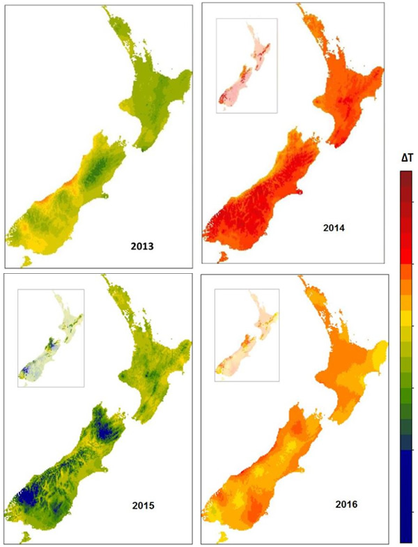 Examples of ΔT maps illustrating differences between regions and years for all of New Zealand. The insets show ΔT values for beech forest. The forecast mega-mast for 2014 was that 90% of the area of beech forest would be affected. This contributed to planning for DOC's 'Battle for our Birds' programme. Beech masts were predicted to be unlikely in 2015 but are more likely in some areas in 2016.