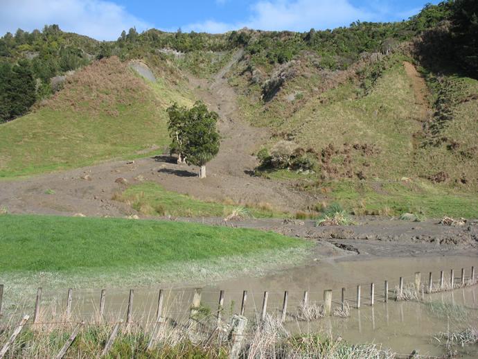 Landslide leaving pools of water