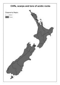 Cliffs, scarps and tors of acidic rocks: Presence by Region