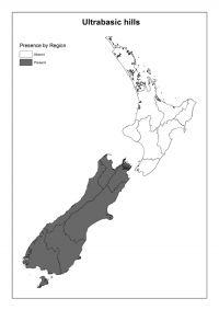 Ultrabasic hills: Presence by Region
