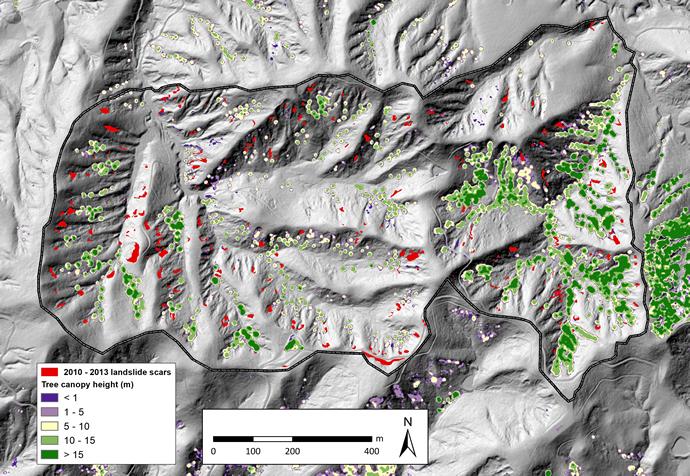 Erosion landslide scars and remote sensing (LiDAR Light Detection and  Ranging) derived canopy model – Te Whanga, Ruamāhanga