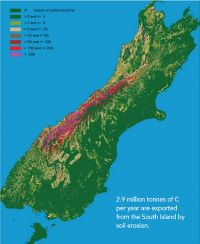 South Island by soil erosion.