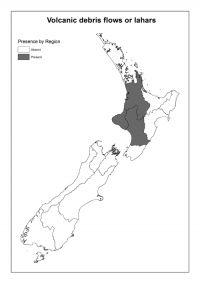 Volcanic debris flows or lahars: Presence by Region