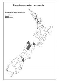 Limestone erosion pavements: Presence by Territorial Authority