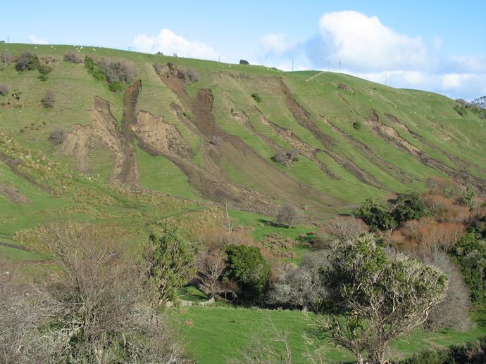 Landslides on a hill