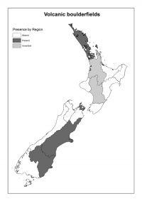 Volcanic boulderfields: Presence by Region