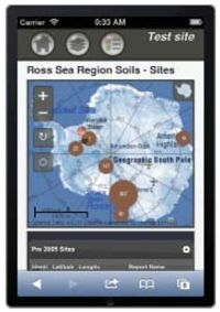 Soil mobile app displaying the Antarctica Soil Database.