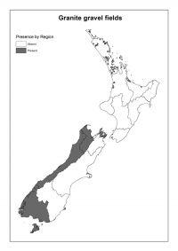 Granitic gravel fields: Presence by Region