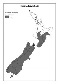 Braided riverbeds: Presence by Region