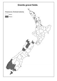 Granitic gravel fields: Presence by Territorial Authority