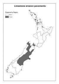 Limestone erosion pavements: Presence by Region