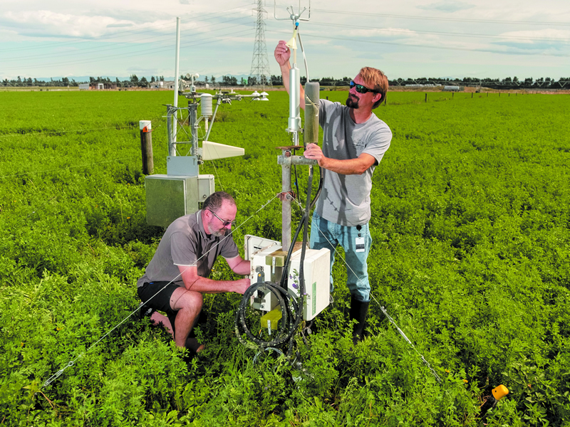 Precision fieldwork in real-world locations is essential to ensure sustainable management on-farm. Manaaki Whenua's John Hunt and Scott Graham monitor data collection equipment at Ashley Dene in Springston.