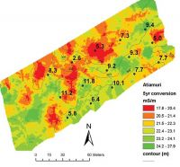 Figure 2. Soil electrical conductivity map showing soil C content [numbers on map] varying between 2.6% and 11.8% in a paddock where pine forest has recently been converted to pasture.
