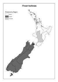 Frost hollows: Presence by Region