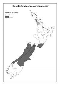 Boulderfields of calcareous rocks: Presence by Region
