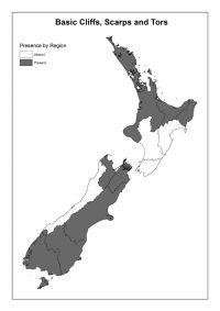 Basic cliffs, scarps and tors: Presence by Region