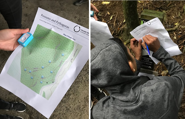 The orienteering tracking route, left, and a student recording the answer to a question at a point stop on the course, right