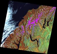 This image is a Landsat ETM+ orthorectified scene of the south-west area of the South Island