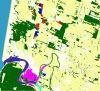 This is a zoom at full sampling of the wetland layer. Red is palustrine, magenta is estuarine vegetation, purple is estuarine water, cyan is riverine water, blue is lacustrine water