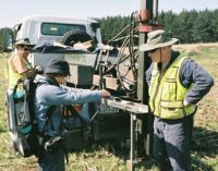 A soil core being analysed.