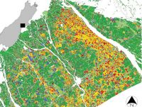Figure 1. Land use classification for Summer 2011/12, Mid-Canterbury. Shades of green are pastoral types, yellow/orange/red shades are single-season crops, and blue indicates winter forage paddocks already planted in November–December. Rivers, towns, etc., are masked out (white).