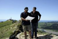 Hawke's Bay Regional Council's (HBRC) Pouri Rakete-Stone and Rod Dickson look at a Cape to City map.