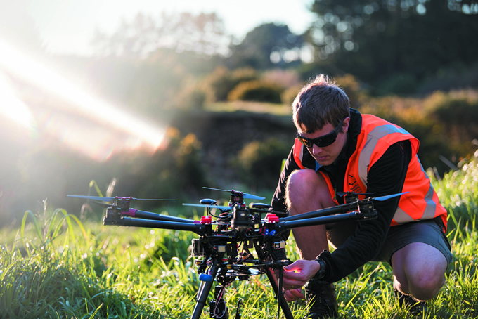 Remote sensing scientist Ben Jolly sets up a RPAS 'drone' for a remote-sensing operation in Palmerston North