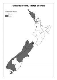 Ultrabasic cliffs, scarps and tors: Presence by Region
