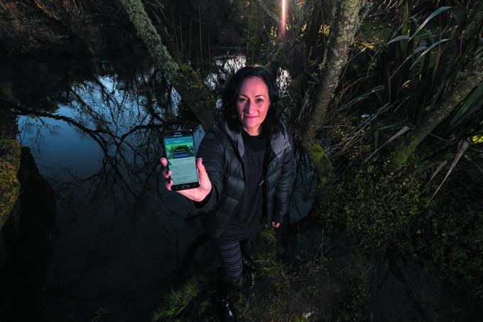 Kairangahau Māori Kiri Reihana shows off the Wai Ora Wai Māori app, a kaupapa Māori assessment tool designed for Ngati Tahu − Ngati Whaoa.