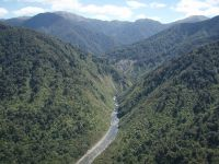 Aerial view of the Tararua Ranges, site of Project Kākā