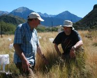 David Whitehead (left) and Andy Midwood (Macauley Institute, Scotland) monitoring GHG emissions at Cass.