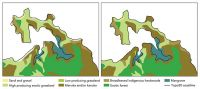 """Figure 2. The original LCDB """"coastline"""" was simply interpreted from imagery. As seen on the left, it often deviated from the Topo50 coastline (bold line). On the right, polygons have been made consistent with the Topo50 coastline."""