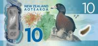 The $10 note includes a Blechnum fern (probably novae-zelandiae as previously, and a Dracophyllum species, as well as a whio (blue duck). This duck is a river specialist, endemic to New Zealand.