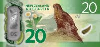 The inland Kaikoura ranges form the background for the $20 note, with a Marlborough rock daisy (Pachystegia insignis). The kārearea (NZ falcon) is the only remaining endemic bird of prey in NZ.