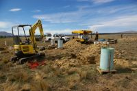 Preparing to dig out stony soil lysimeters.