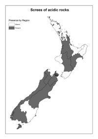 Screes of acidic rocks: Presence by Region