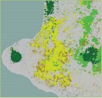 Figure 1. The contribution of Taranaki and inland ecosystems to a national measure of natural habitat provision (a supporting ecosystem service): dark green is high; light green is moderately high; yellow is moderate; brown is low; and grey is near zero.
