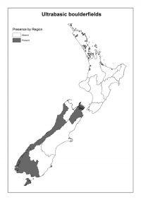 Ultrabasic boulderfields: Presence by Region