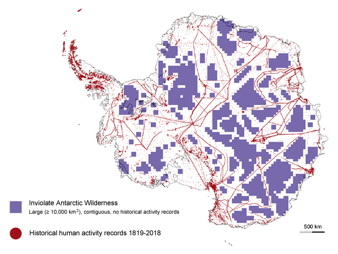 Two hundred years of human activity on the Antarctic continent. The red dots and lines represent human activity including traverses across the ice. The purple scale squares indicate areas where data suggest humans have not yet travelled.