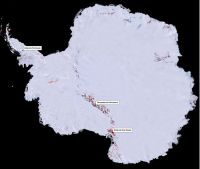 Figure 1. Map showing distribution of ice-free areas (red) in Antarctica. Image - Fraser Morgan