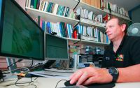 Geographic Information System (GIS) researcher James Barringer working on LRIS