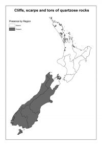 Cliffs, scarps and tors of quartzose rocks: Presence by Region