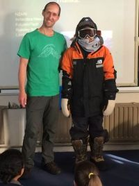Phil with one of the Russley High students, attired for a trip to Antarctica