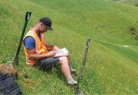 Scott Fraser assessing soils (David Palmer).